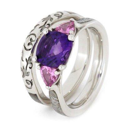 wedding ring set dinosaur bone wedding band and meteorite engagement ring amethyst and sapphire engagement ring width 35mm 75mm 14k white - Amethyst Wedding Rings
