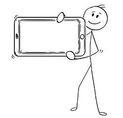 123rfdotcom stick figure holding mobile