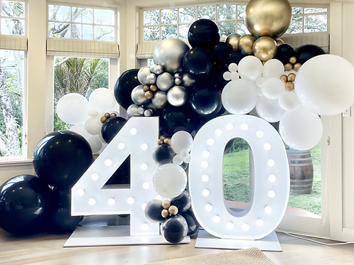 40th light up number set up weekend hire