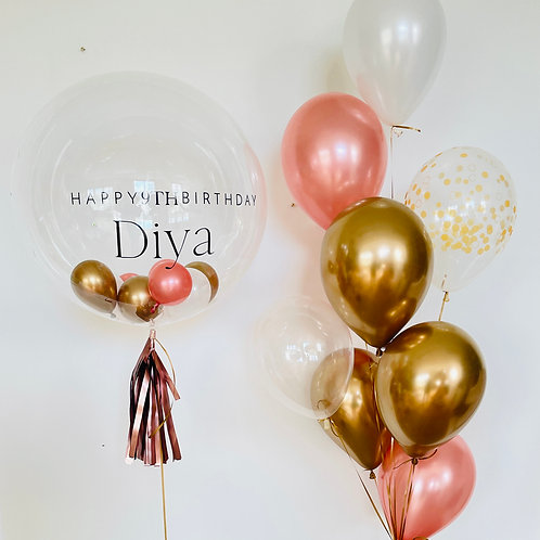 Clear bubble balloon personalised bouquet