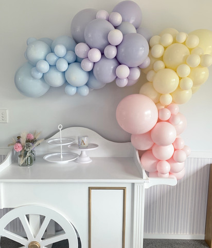 Rainbow pastel balloon garland