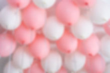 Colourful balloons, pink, white, streame