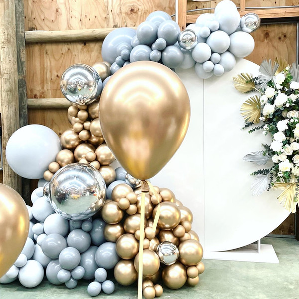 Grey and gold balloons