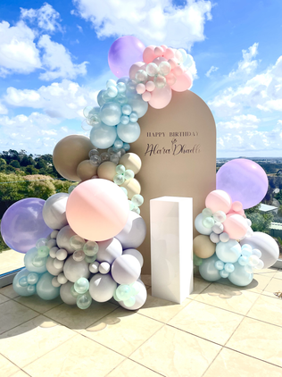 Beige balloon arch backdrop