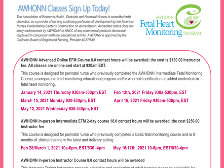 Awhonn Classes 2021 Sign up today