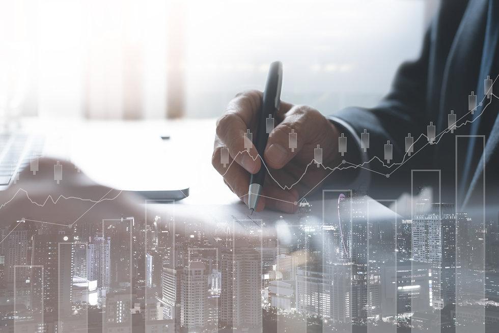 Business man analysis on digital stock m