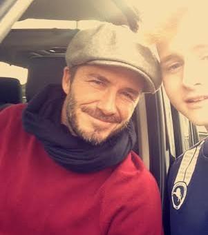 Luke under 14's Millwall Player with David Beckham!
