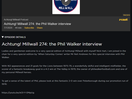 Listen to Phil on a Millwall Podcast with Nick Hart from @AchtungMillwall
