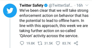 Twitter to censor the Q Anon Movement across their Platform.