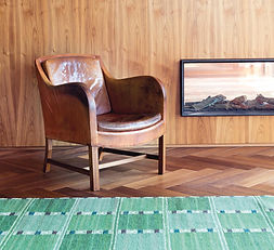 Danish leather armchair Kaare Klint, carpet rug by Marta Maas-Fjetterstrom MMF