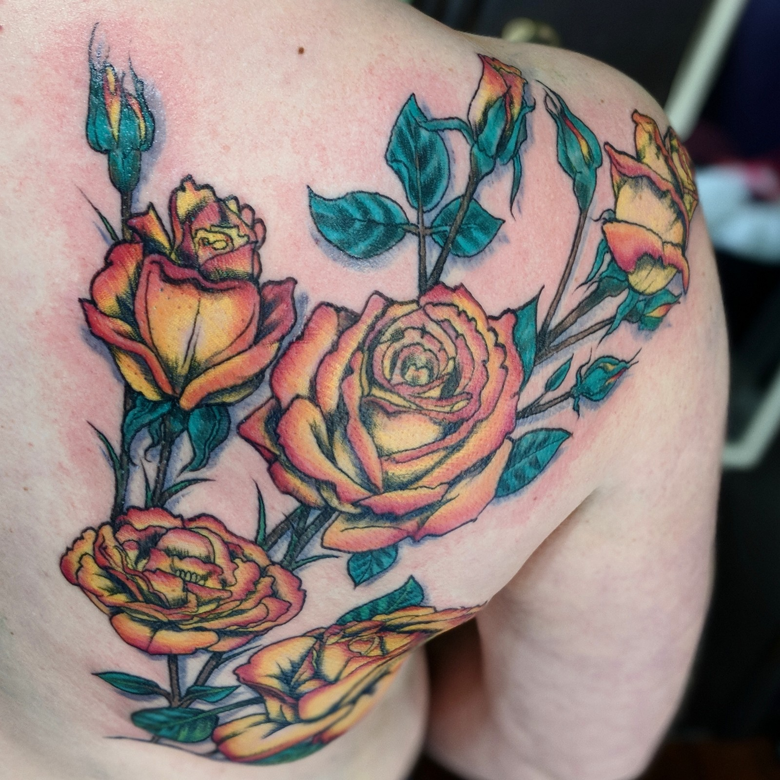roses on the shoulder