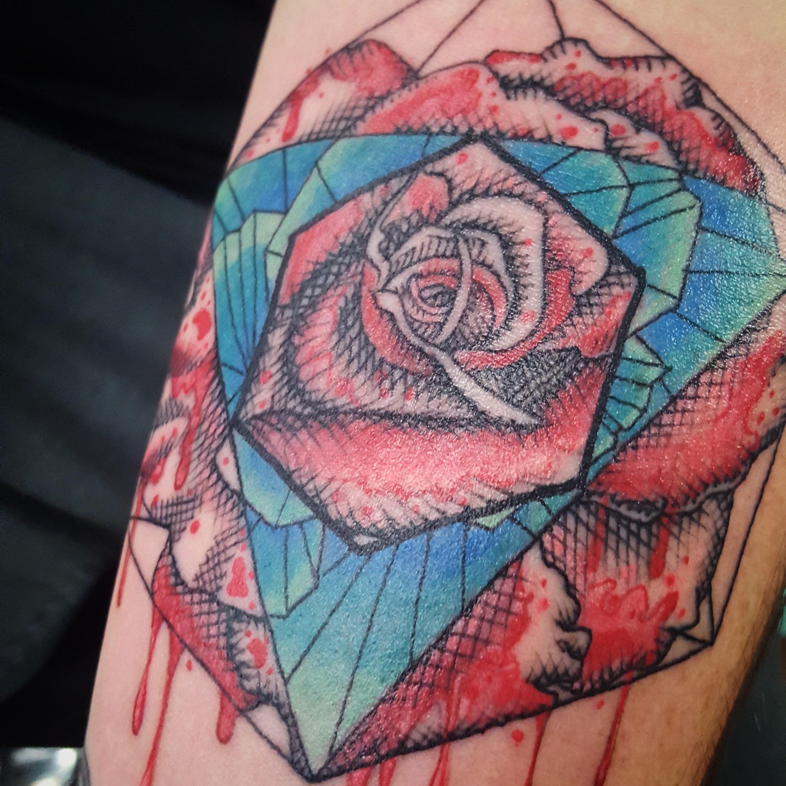 watercolor geometric rose