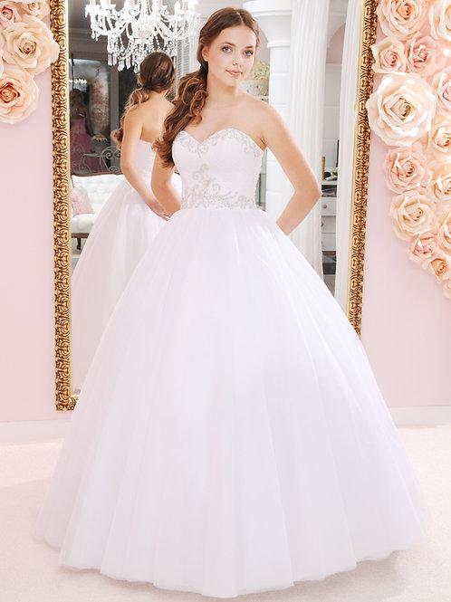 W933 - Szív dekoltázsú menyasszonyi ruha szolid strassz díszítéssel
