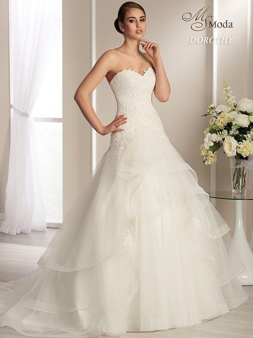 DOROTHY -Szív dekoltázsú esküvői ruha lágy esésű tüllszoknyával (fehér színben!)