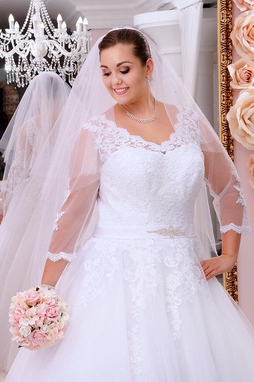 M709 - Gazdagon csipkézett hosszú ujjú menyasszonyi ruha fűzős háttal