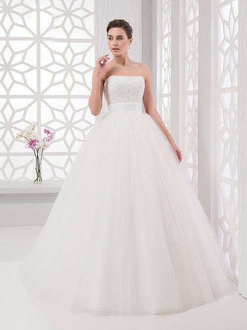 C601 - Egyenes dekoltázsú szalagavató ruha széles övvel