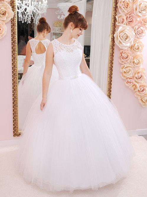 W922 - Hercegnős menyasszonyi ruha csipke felsővel, hát kivágással
