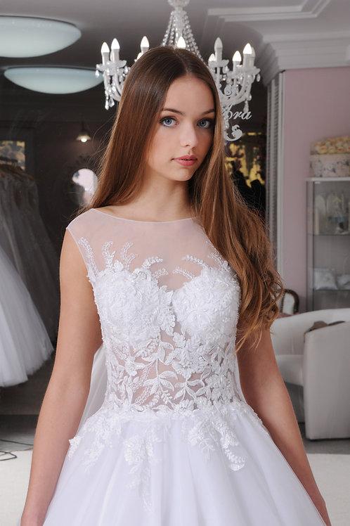 W023 - Hátul gombsorral ellátott menyasszonyi ruha virágos csipke applikációkkal