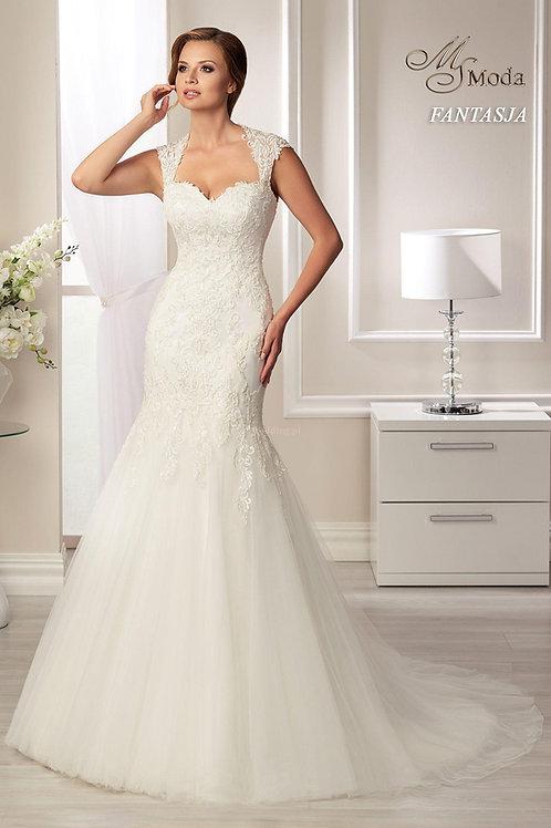 FANTASJA - Sellő fazonú esküvői ruha kerek hát kivágással (fehér színben!)