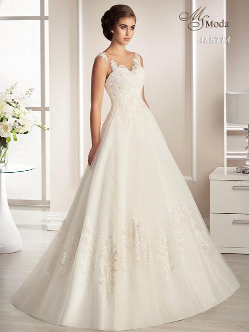 ALETTA - A-vonalú esküvői ruha lebegőcsipke díszítéssel (fehér színben!)
