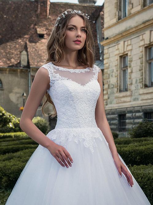 W808 - Hercegnős esküvői ruha bordűrözött, uszályos tüllszoknyával