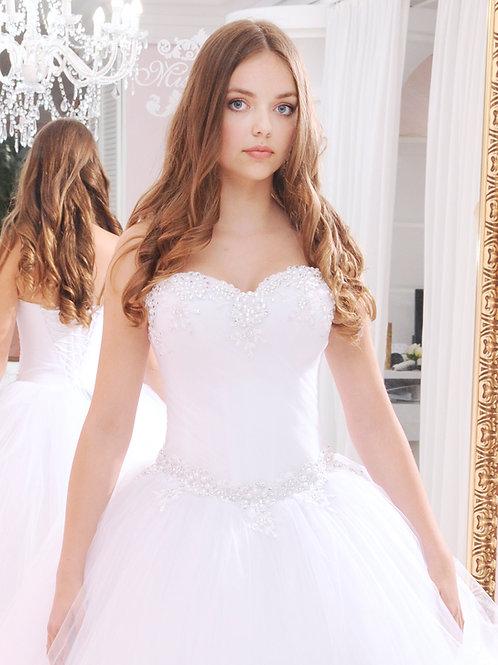 W937 -Gyöngyökkel és strasszokkal díszített menyasszonyi ruha ívelt dekoltázzsal