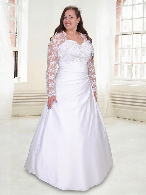 M611 - Derekánál húzott molett esküvői ruha strasszos mellrésszel