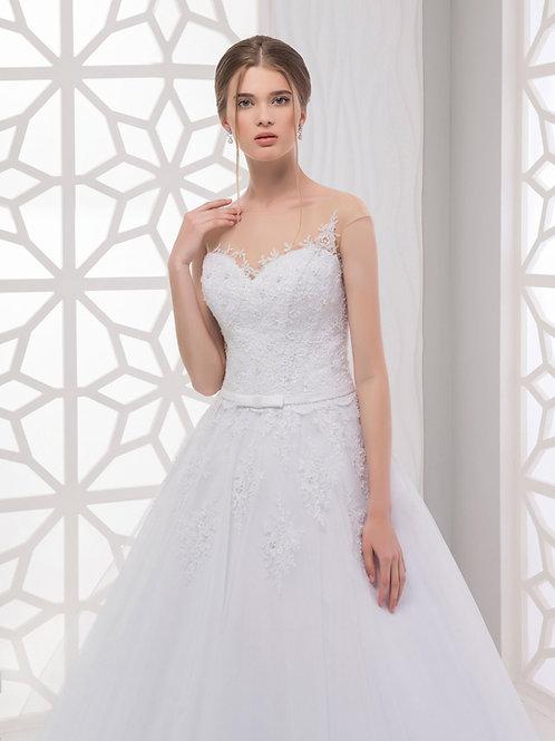 W921 - A-vonalú menyasszonyi ruha derekán vékony övvel, hátán gombsorral