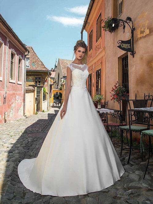 W019 - Zárt zárt felsőrészű menyasszonyi ruha szatén uszályos szoknyával