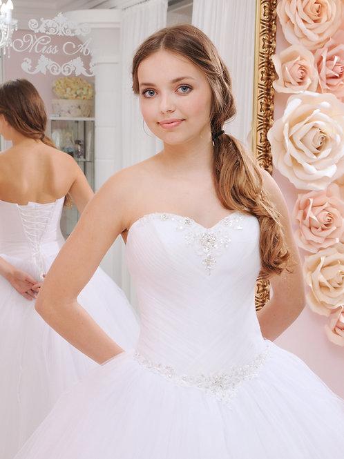W923 - Gyöngyökkel és flitterekkel gazdagon díszített fehér menyasszonyi ruha