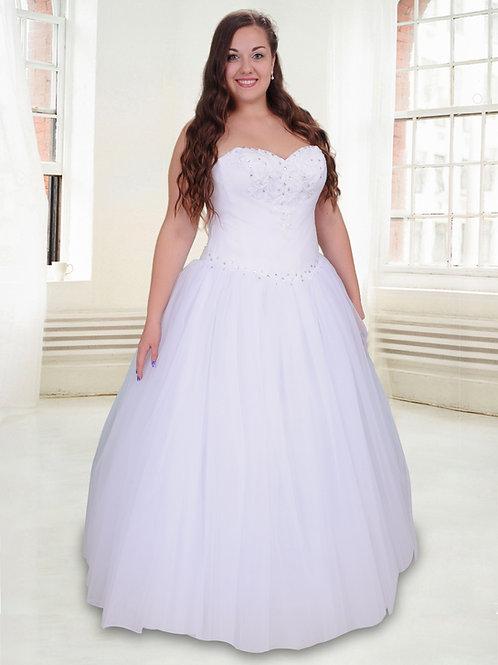 M603 - Hófehér hercegnős esküvői ruha egyenes szabású tüllszoknyával