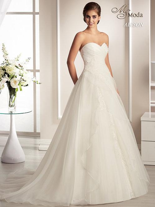 ALISON - A-vonalú esküvői ruha lágy esésű tüllszoknyával (fehér színben!)