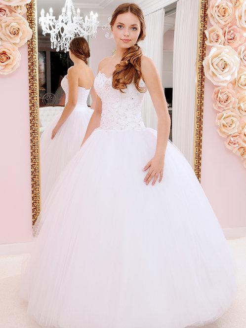 W925 - Virágmotívumokban kirakott strasszkövekkel díszített menyasszonyi ruha