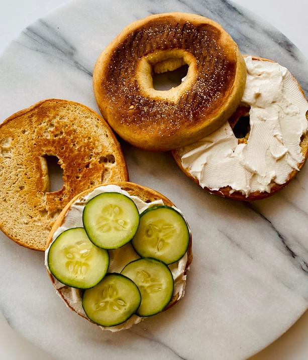 Vegan Cream Cheese on a Whole Grain Plain Bagel