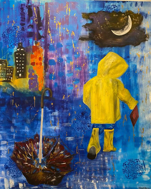 Playing in the Rain @sarahbarbosapaintings