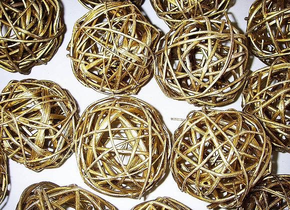 Weidenkugel - Rattankugeln - Gold