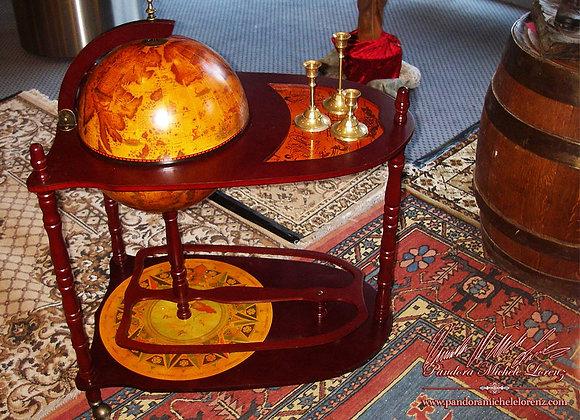 Globusbar, Bartisch, Barwagen mit Weltkarte