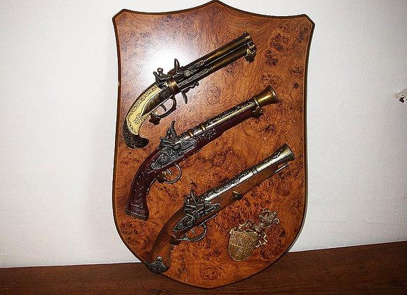 3 x Antike Deko Hahnpistolen inklusive Halterung