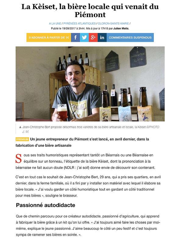 Article Sud Ouest - La Brasserie de l Ar