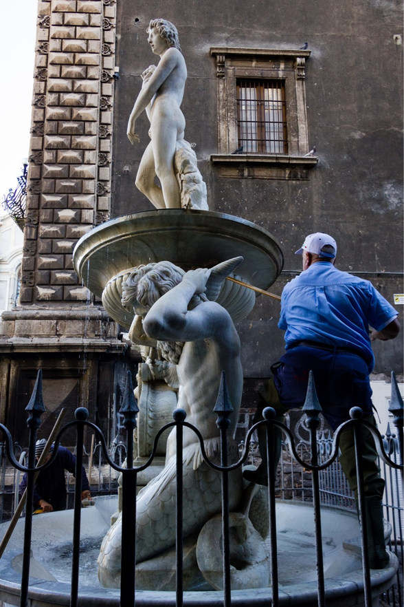 Cleaning the fountain