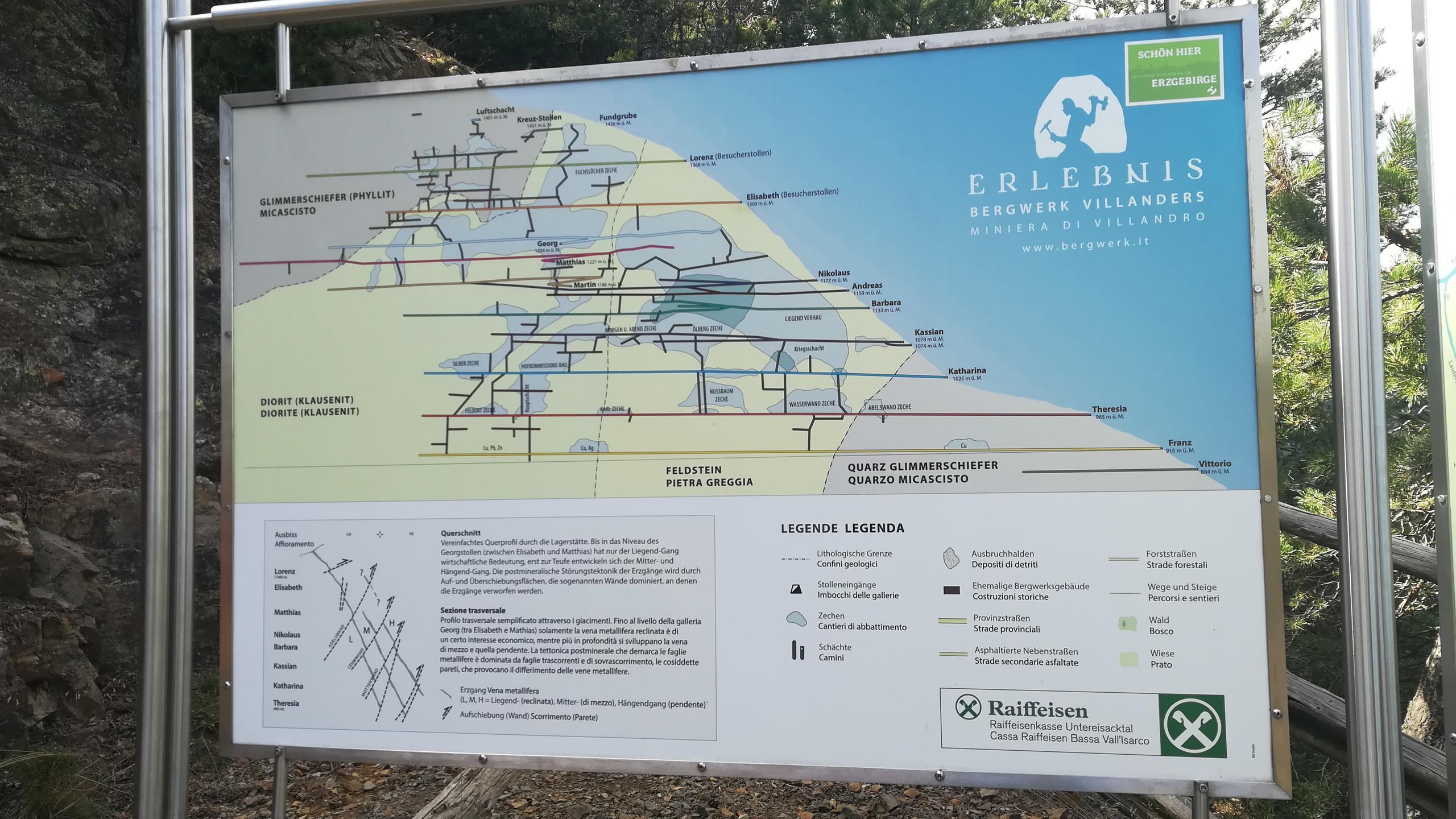Miniere di Villandro, mappa