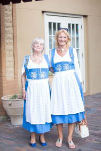 Guests of Hollerbach's wearing dirndls purchased at Outfitters