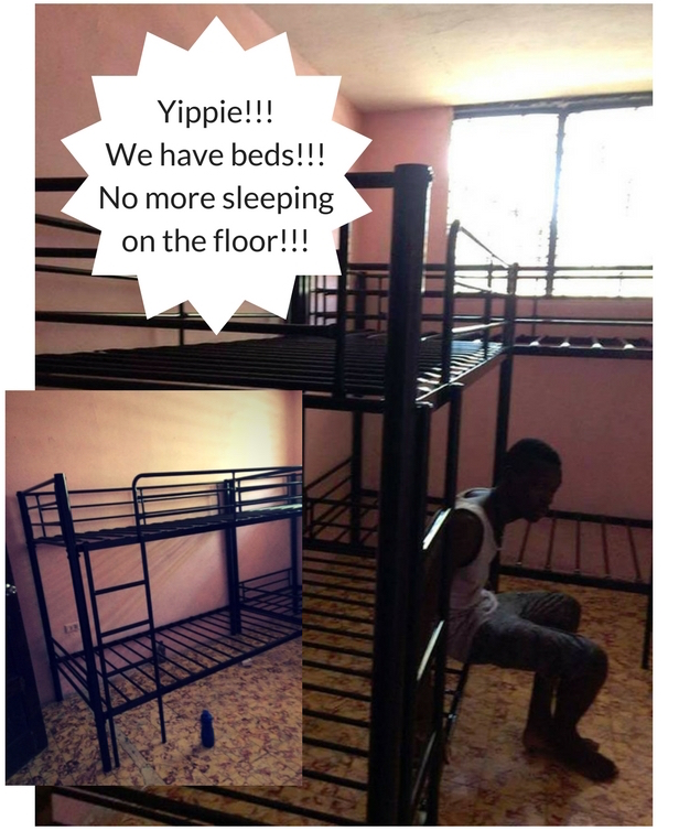 Yippie!!! We have beds!!! No more sleeping on the floor!!!