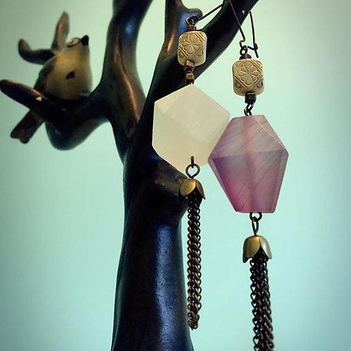 2 in one metal Tassel Earrings