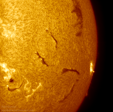 Filaments, sunspots and flares