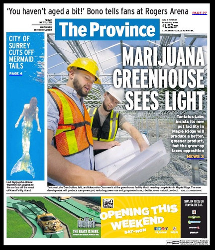 Our friends @Tantalus Labs made front page of BC's The Province. They are building an epic marij
