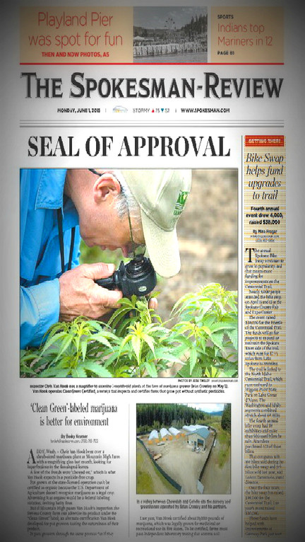 Green Barn Farms on the front page of Spokesman-Review discussing 'green' marijuana