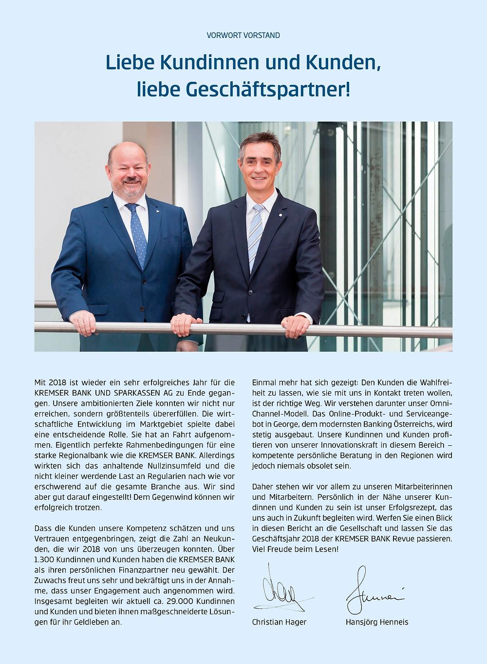 Artikel im Magazin Vorteil mit dem Vorwort des Vorstandes der Kremser Bank Christian Hager und Hansjörg Henneis