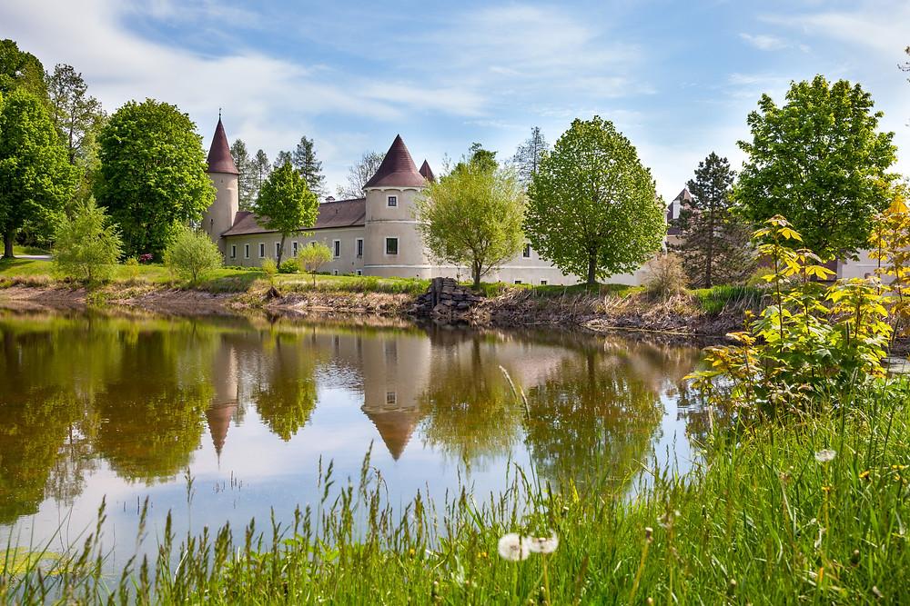 Teich, Fischteich, Schloss Waldreichs, Waldviertel, Niederösterreich, Niederösterreich Card, Ausflug, Greifvögel, Falknerei, Wandern, Wandertipp