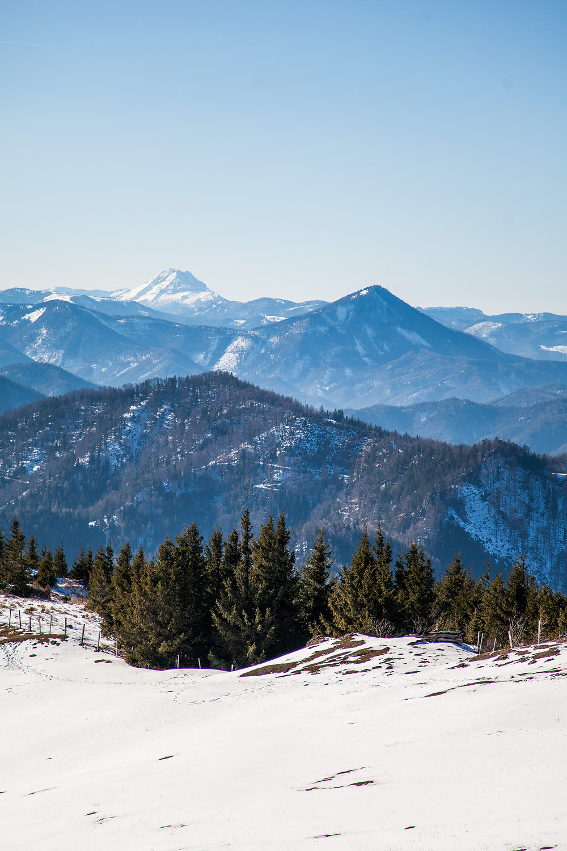 Ötscher, Unterberg, Blochboden, Voralpen, Niederösterreich, Wanderung, Wandern, Alm, Weide, Winterwandern, Winter, Schnee, Bergpanorama, Ausblick